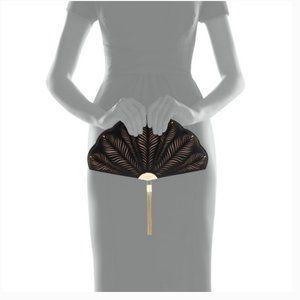 Kate Spade Dress the Part Fan Clutch purse nwot